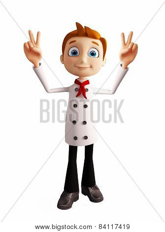 Chef Character With Win Pose