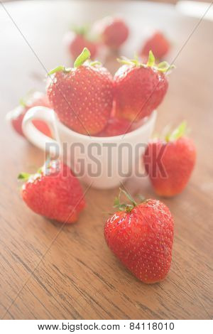 Fresh Ripe Strawberries On Wooden Background