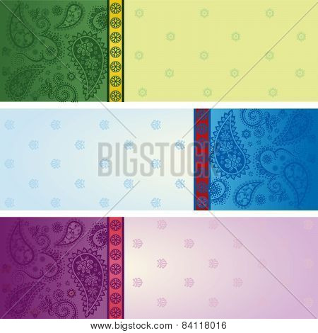 Set Of Colorful Horizontal Saree Banners