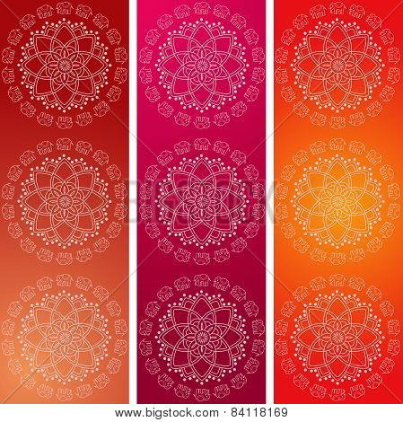 Colorful Indian elephant mandala vertical banners