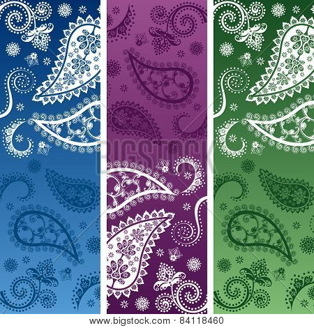 Colorful Indian henna paisley pattern vertical banners