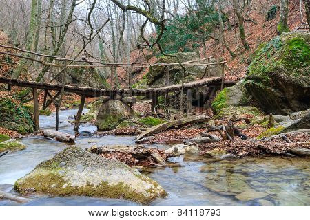 Wooden Bridge Over The River Forest