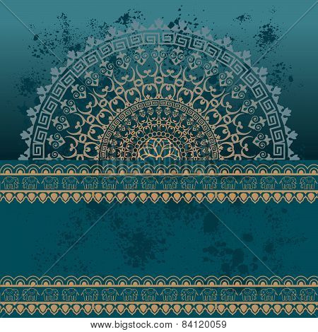 Blue Indian henna mandala banner