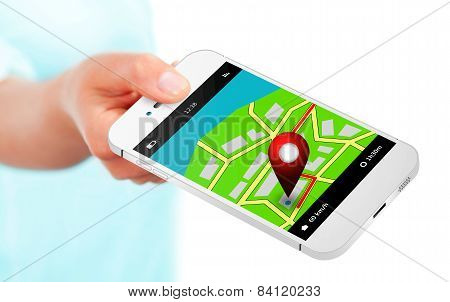 Hand Holding Mobile Phone With Gps Application And Map Over White
