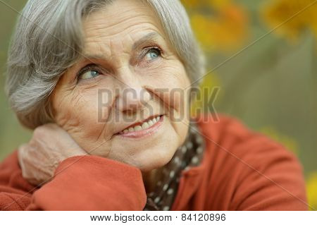 Happy elderly woman