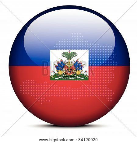 Map On Flag Button Of Haiti