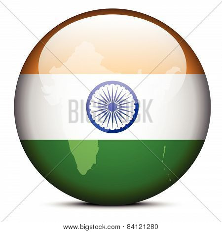Map On Flag Button Of India