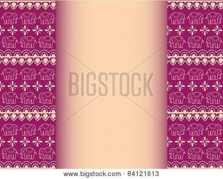 Purple and cream henna elephant banner