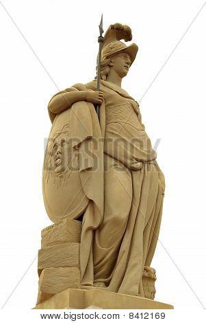Statue Of Minerva On The Old Bridge (alte Brücke) Of Heidelberg,