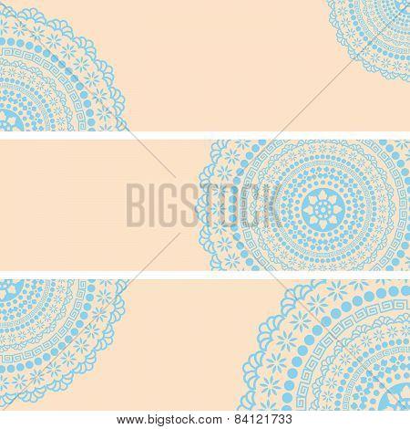 Blue Indian henna mandala horizontal banners
