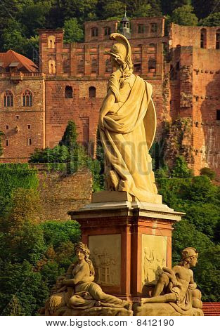 Statue Of Minerva On The Old Bridge (alte Brücke) in Heidelberg