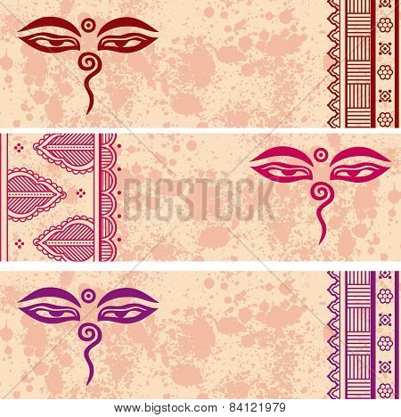 Colorful Buddhist henna paisley horizontal banners