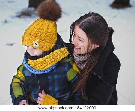 Portrait Of Family On Winter