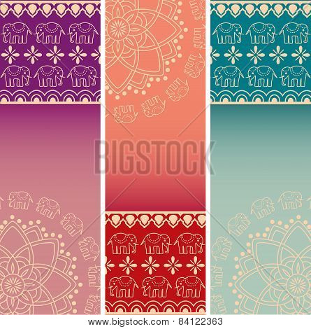 Colorful Indian elephant henna and mandala vertical banners