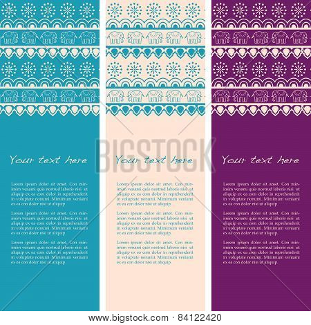 Colorful henna design vertical banners with elephants
