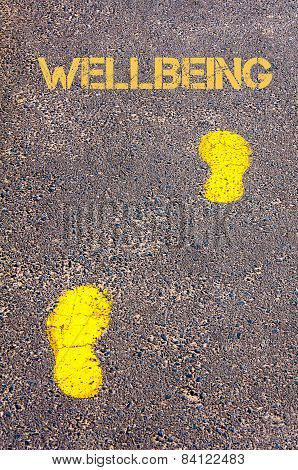 Yellow Footsteps On Sidewalk Towards Wellbeing Message