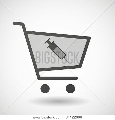 Shopping Cart Icon With A Syringe