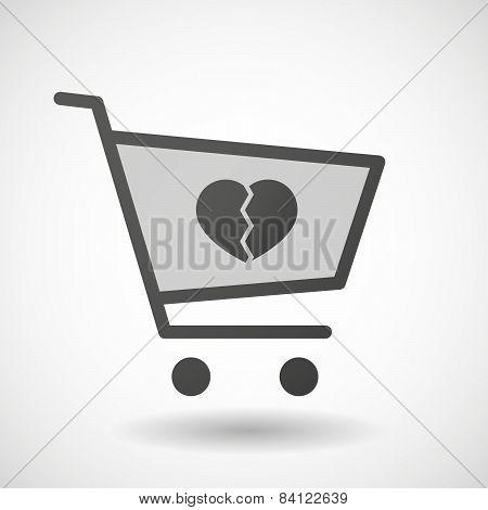 Shopping Cart Icon With A Broken Heart