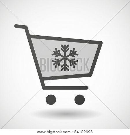 Shopping Cart Icon With A Snow Flake