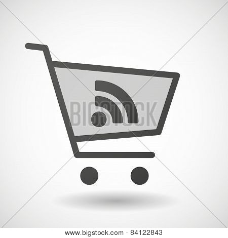 Shopping Cart Icon With A Rss Sign