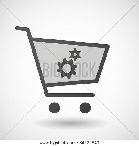 Shopping Cart Icon With A Flame