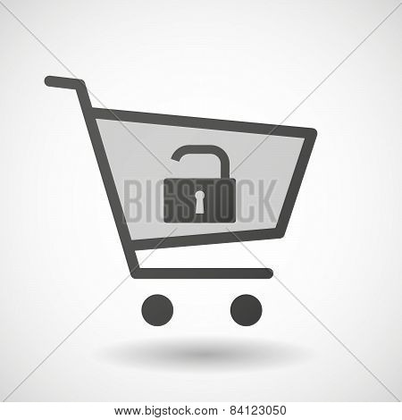 Shopping Cart Icon With A Lock Pad