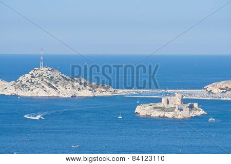 View To The Castle If, And The Frioul Archipelago, Marseille, France