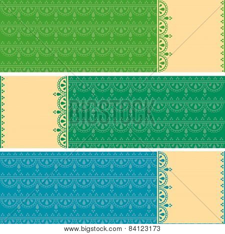 Colorful Indian henna pattern horizontal banners