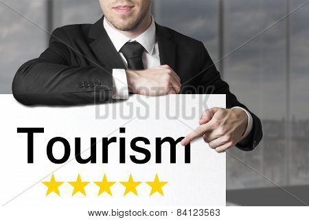 Businessman Pointing On Sign Tourism Five Stars