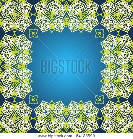 Floral border on seamless background.