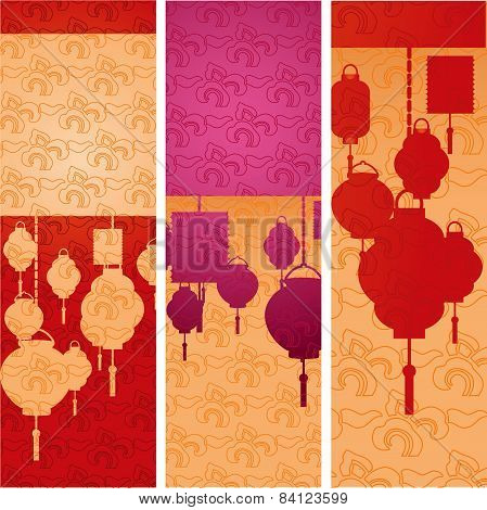 Chinese New Year hanging lanterns vertical banners
