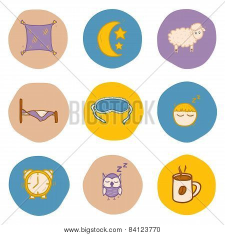 Set of hand drawn icons on sleep theme