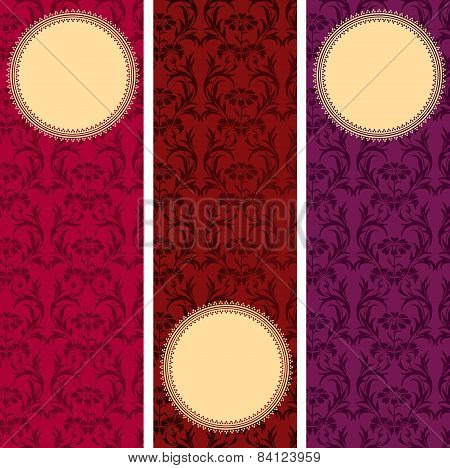 Oriental classical flower pattern vertical banners
