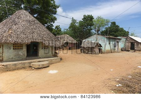 Group Of Humble Dwellings In Village.