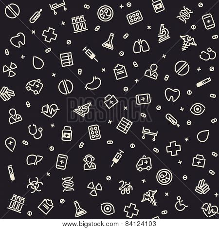 Dark Seamless Medical Pattern