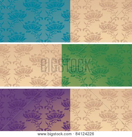 Classical oriental flower pattern horizontal banners