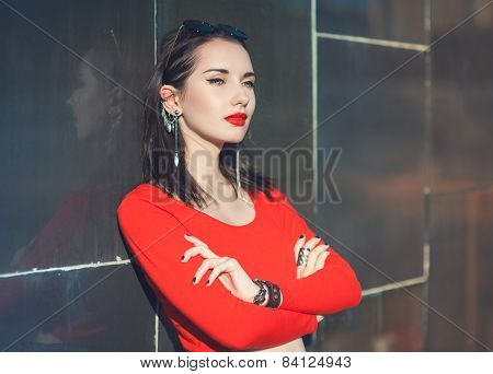 Young Beautiful Hipster Girl In Red Blouse With Sunglasses