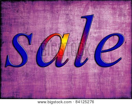 Blue Sale Tag On Purple Wooden Background.