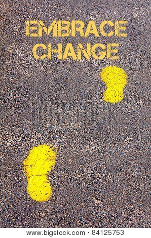 Yellow Footsteps On Sidewalk.embrace Change Message