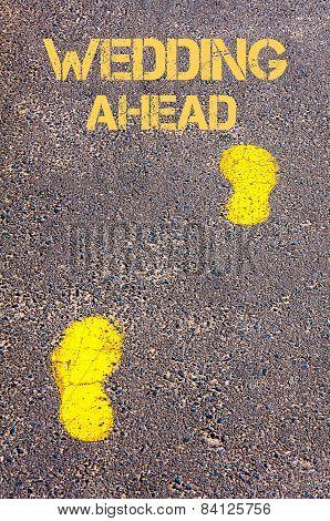 Yellow Footsteps On Sidewalk.wedding Ahead Message