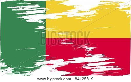 Flag Of Benin With Old Texture. Vector