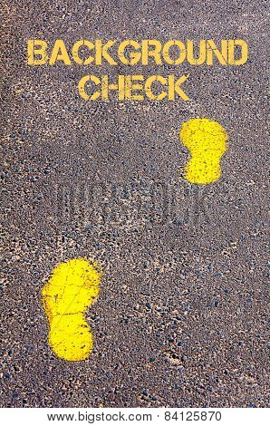 Yellow Footsteps On Sidewalk Towards Background Check Message