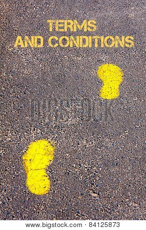 Yellow Footsteps On Sidewalk Towards Terms And Conditions Message