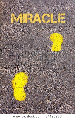 Yellow Footsteps On Sidewalk Towards Miracle Message