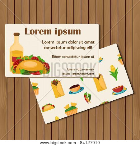 Template for cards or booklets on mexican food theme