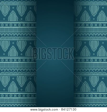 Blue henna design background with banner