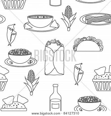 Seamless black-white background with mexican food