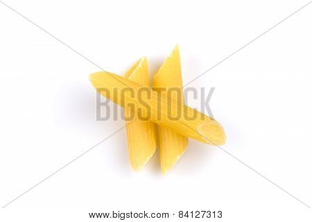 Three Penne Isolated On White Background