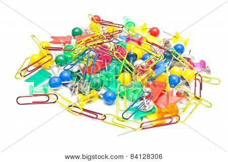 Stationery Pins And Paperclips On White