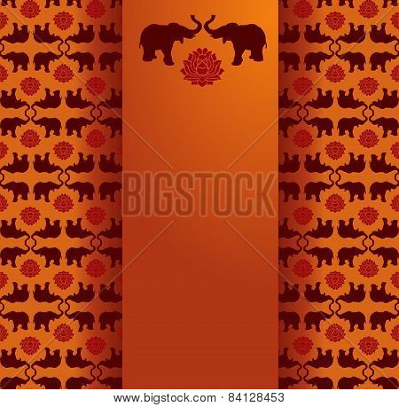 Oriental Elephant Lotus Pattern Central Banner